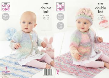 Blanket , Cardigan Matinee Coat and Hat Knitting Pattern  King Cole 5588